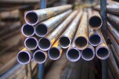 industriella metallrør Fotografering för Bildbyråer