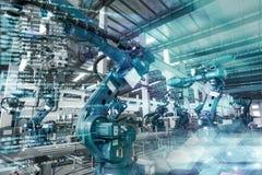 Industriella robotar är tillverkade och församlade stock illustrationer