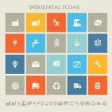 industriella symboler Mångfärgade fyrkantlägenhetknappar Arkivbilder