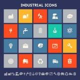 industriella symboler Mångfärgade fyrkantlägenhetknappar Arkivfoton