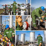 Industrielle Collage, die Arbeitskräfte bei der Arbeit zeigt Lizenzfreie Stockbilder
