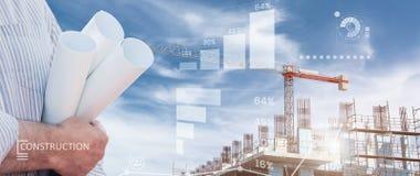 Industrielle Collage mit Diagrammen Stockfotos