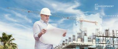 Industrielle Collage mit Diagrammen Getrennt auf Weiß Lizenzfreie Stockfotos