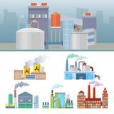 Industrielle Fabrik-Gebäude-Architektursatz Lizenzfreies Stockbild
