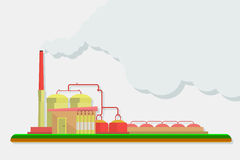 Industrielle Fabrikgebäude eingestellt in flaches Design Stockfoto