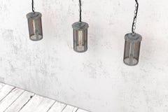 Industrielle hängende Lampe auf einem Hintergrund einer rauen Wand Stockfoto