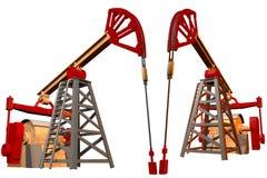 Industrielle Illustration - lokalisiertes farbiges Ölquelle auf weißem Hintergrund, Illustration 3D lizenzfreie abbildung