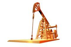 Industrielle Illustration - lokalisiertes Goldölquelle auf weißem Hintergrund, Illustration 3D stock abbildung