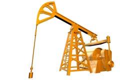 Industrielle Illustration - lokalisiertes Goldölquelle auf weißem Hintergrund, Illustration 3D lizenzfreie abbildung