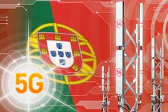 Industrielle Illustration Portugals 5G, großer Mobilfunknetzmast oder Turm auf modernem Hintergrund mit der Flagge - Illustration vektor abbildung