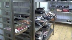 Industrielle Kühlschränke für Lagerung von Salaten und von anderen Nahrungsmitteln stock footage