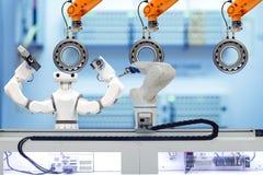 Industrielle Roboter- und intelligente Roboterfunktion mit Tonnenlager über die Ergreifung des Werkstückes lizenzfreie stockfotos