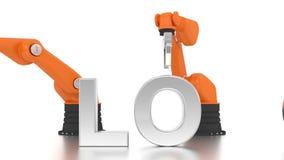 Industrielle Roboterarme, die BLOG-Wort aufbauen stock footage