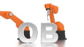 Industrielle Roboterarme, die JOB-Wort aufbauen stock footage