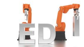 Industrielle Roboterarme, die MEDIA-Wort aufbauen stock video