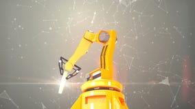 Industrielle Roboterarme mit leerer Wiedergabe des Förderbandes 3D vektor abbildung