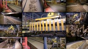 Industrielle Roboterausrüstung bei der Arbeit Montage des geteilten Bildschirms 4K stock footage