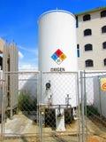 Industrielle Sauerstoffflasche in der rumänischen Sprache Stockfoto