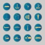 Industrielle und logistische blaue Ikonen Stockbilder