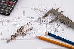 Industrielle Zeichnung und Hilfsmittel Lizenzfreie Stockfotos