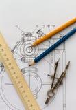 Industrielle Zeichnung und Hilfsmittel Stockbild