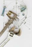 Industrielle Zeichnung und Hilfsmittel Stockbilder