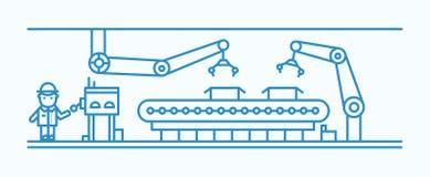 Industrieller Bandförderer ausgerüstet mit den Roboterarmen, die Kästen übermitteln und Arbeiter im Schutzhelm herstellen vektor abbildung