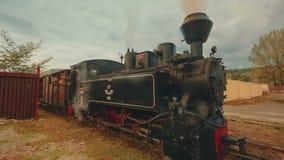 Industrieller Dampf-Güterzug in einem kleinen ländlichen Dorf - Weitwinkelansicht stock video