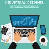 Industrieller Designer, der an Laptop-Computer mit Plan auf Schirm arbeitet Flache Designvektorillustration Stockfoto
