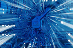 Industrieller elektronischer blauer Hintergrund der Technologie stockbild