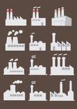 Industrieller Fabrik-Gebäude-Vektor-Ikonen-Satz Lizenzfreie Stockbilder