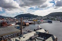 Industrieller Hafen der Bergen-Stadt in Norwegen Stockbild