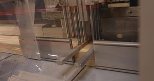 Industrieller Innenraum, einen Holzklotz sägend, eine Sägemaschine für einen Holzklotz, hölzernes Palettenblockschneiden-Maschine stock video