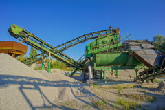 Industrieller Kies-Steinbruch Stockbilder