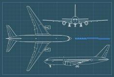 Industrieller Plan des Flugzeuges Vektorentwurfszeichnungsfläche auf einem blauen Hintergrund Spitzen-, Seiten- und Vorderansicht lizenzfreie abbildung
