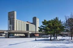 Industrieller Silo in Montreal Stockbild