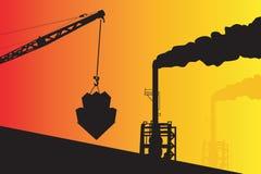 Industrieller Trichter und Kran Stockbild