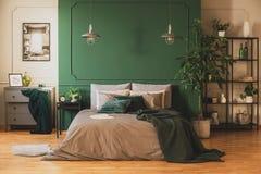 Industrielles Bücherregal und hölzerne Kommode im zeitgenössischen Schlafzimmer Innen mit städtischem Dschungel lizenzfreie stockbilder