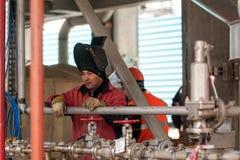 Industrielles fabrizierter Bau des Schweißers Schweißen lizenzfreies stockbild