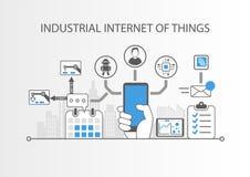 Industrielles Internet von Sachen oder von Industrie 4 0 Konzept mit einfachen Ikonen auf grauem Hintergrund Stockfotografie