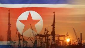 Industrielles Konzept mit Nordkorea-Flagge bei Sonnenuntergang stock video