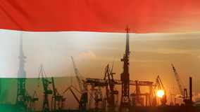 Industrielles Konzept mit Ungarn-Flagge bei Sonnenuntergang vektor abbildung