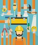 Industrielles Konzeptdesign flach mit repaiman Lizenzfreie Stockfotos