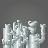 Industrielles Metallrohr-Stapeldesign, Ökologie Lizenzfreie Stockfotos