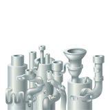 Industrielles Metallrohr-Stapeldesign, Thema von Stockfoto