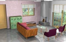 Industrielles, rustikales, modernes Wohnzimmer mit Büro und offene Küche Lizenzfreies Stockfoto