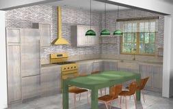 Industrielles, rustikales, modernes Wohnzimmer mit Büro und offene Küche Stockfotografie