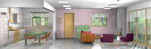 Industrielles, rustikales, modernes Wohnzimmer mit Büro und offene Küche Stockbilder