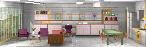 Industrielles, rustikales, modernes Wohnzimmer mit Büro und offene Küche Lizenzfreie Stockfotos