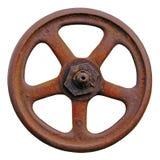 Industrielles Ventil-Rad und Rusty Stem, alte gealterte verwitterte Rost-Schmutz-Klinke, große ausführliche Makronahaufnahme loka Lizenzfreie Stockfotografie